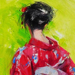 YUKATA V - Impressionist Painting, Oil on paper, 21st Century, Mónica Castanys