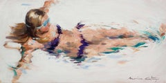 Sirène - Impressionist Painting, Beach, Contemporary, Art, Mónica Castanys