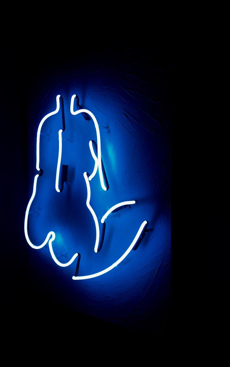 Thinking About It - Neon Wall Sculpture, Nude, Blue, Black, Art, Kim Anna Smith For Sale 1