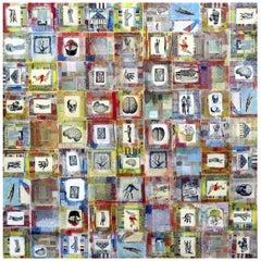 Klaatu - Abstract Painting, Collage, Pattern, Contemporary, Art, Simon Kirk