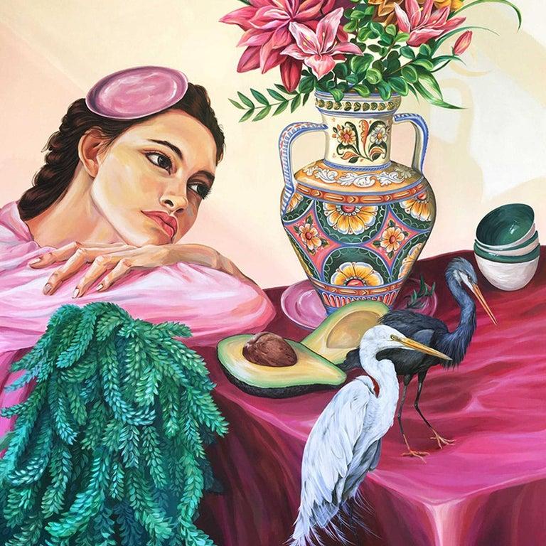 Sueno Figurative Painting Contemporary Art Pink Flowers Mica Lucas