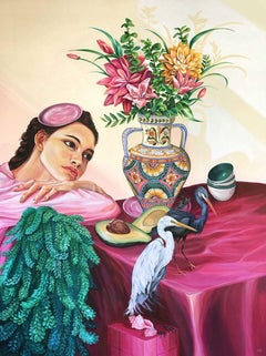 Sueño - Figurative Painting, Contemporary, Art, Pink, Flowers, Mica Lucas