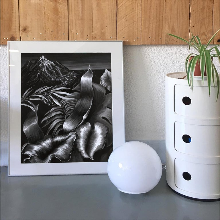 La Isla - Figurative Painting, Acrylic, Black & White, Plants, Art, Mica Lucas For Sale 2