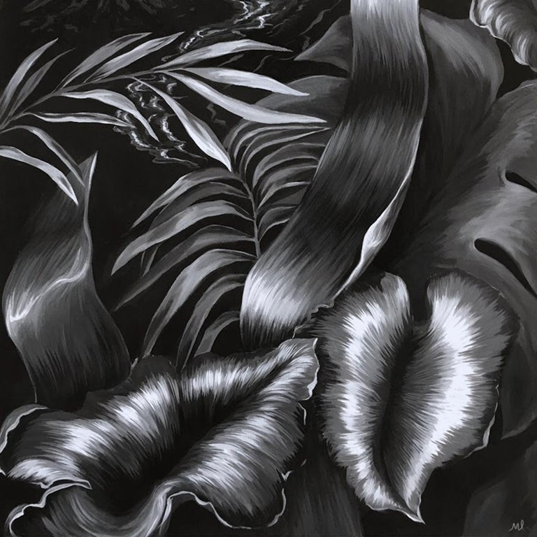 La Isla - Figurative Painting, Acrylic, Black & White, Plants, Art, Mica Lucas For Sale 1