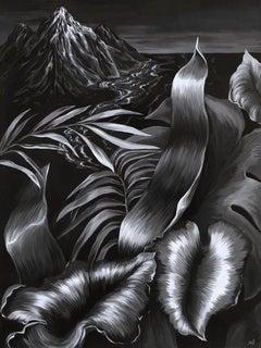 La Isla - Figurative Painting, Acrylic, Black & White, Plants, Art, Mica Lucas