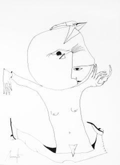 Personajes Postistas 03 - Surrealist Painting, Ink on Paper, Antonio Beneyto
