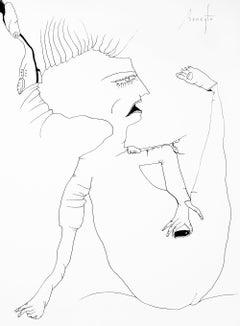 Personajes Postistas 04 - Surrealist Painting, Ink on Paper, Antonio Beneyto