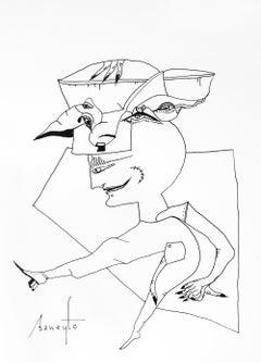 Personajes Postistas 05 - Surrealist Painting, Ink on Paper, Antonio Beneyto