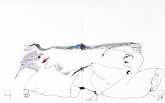 Personajes Postistas 6 y 7  - Surrealist Painting, Ink on Paper, Antonio Beneyto