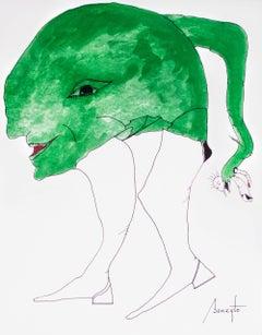 Personajes Postistas 08 - Surrealist Painting, Ink on Paper, Antonio Beneyto