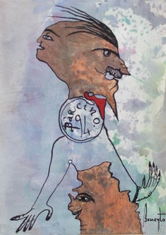 Díptico Beneytiano 1 - Surrealist Painting, Ink on Paper, Art, Antonio Beneyto