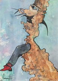 Díptico Beneytiano 2 - Surrealist Painting, Ink on Paper, Antonio Beneyto, 1994