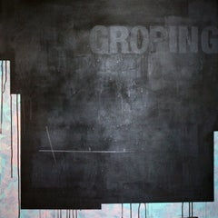 Groping - Painting, Black & White, Text, Contemporary, Art, Norberto Sayegh