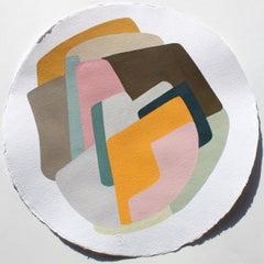 Diámetro 40 N°6 - Abstract Painting, Orange, Pink, Fine Art, Claudia Vivero