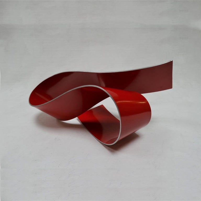 Línies 20 - Abstract, Outdoor Sculpture, Contemporary, Art, Red, Rafael Amorós For Sale 2