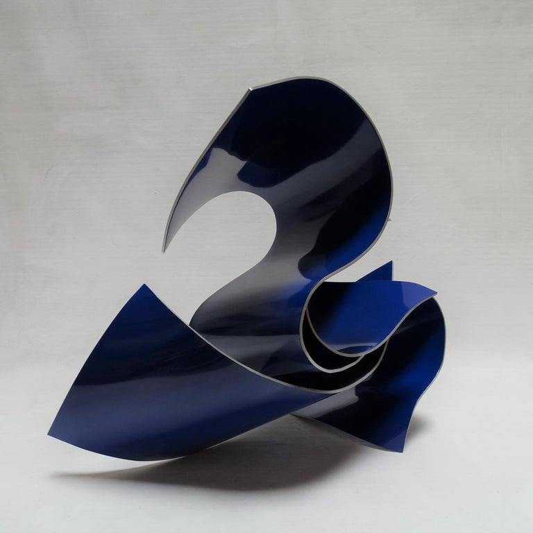 Línies 40 - Abstract, Outdoor Sculpture, Contemporary, Art, Blue, Rafael Amorós For Sale 1