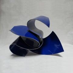 Línies 40 - Abstract, Outdoor Sculpture, Contemporary, Art, Blue, Rafael Amorós