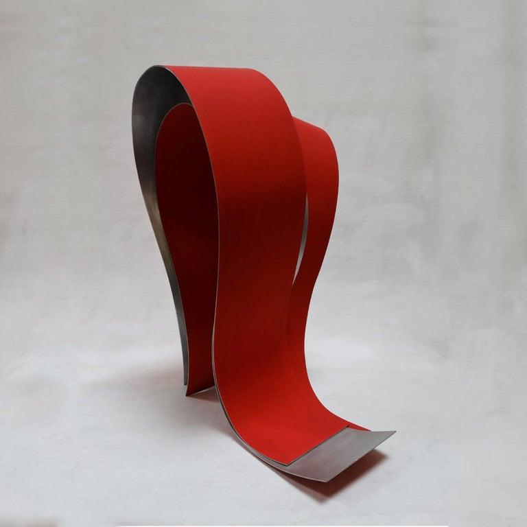 Acull 60 - Abstract, Outdoor Sculpture, Contemporary, Art, Red, Rafael Amorós For Sale 2