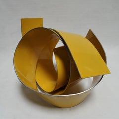 Línies Yellow 28 - Abstract, Outdoor Sculpture, Contemporary, Art, Rafael Amorós