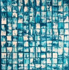Self-Portrait II - Abstract Painting, Oil on Canvas, Blue, Art, Jordi Aguilar