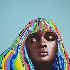 Dara - Figurative Painting, Pop Art, Portrait, Pink, Contemporary, Art, Yeliza