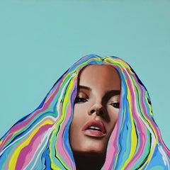 Katie - Figurative Painting, Pop Art, Portrait, Blue, Contemporary, Art, Yeliza