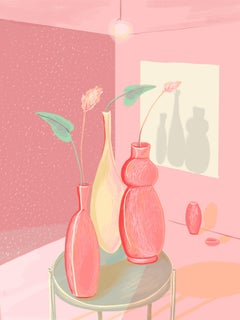 Room - Figurative Painting, Digital, Flowers, Contemporary, Art, Mica Lucas