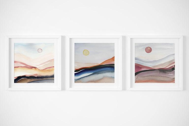 Painted Moon 5 - Watercolour, Fine Art Paper, Contemporary, Aubrienne Bergeron For Sale 2