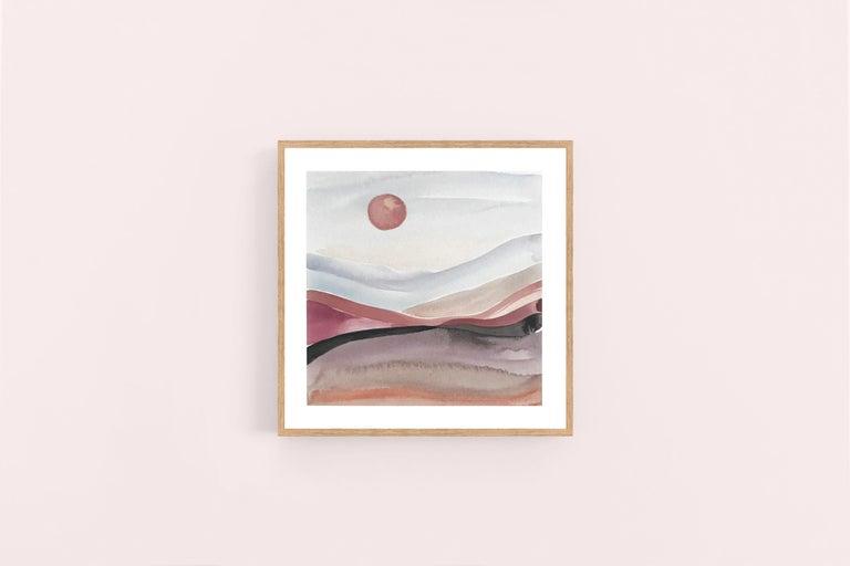 Painted Moon 5 - Watercolour, Fine Art Paper, Contemporary, Aubrienne Bergeron For Sale 1