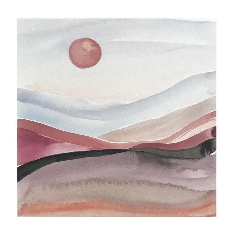 Painted Moon 5 - Watercolour, Fine Art Paper, Contemporary, Aubrienne Bergeron - Painting by Aubrienne Bergeron