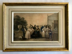 Framed French Hand Painted Color Engraving Of A Family And Dogs Enjoying The Day