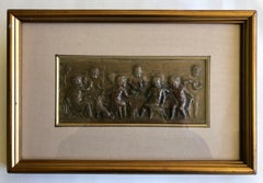 Framed Embossed Bronze Of 9 Cherubs Dining With A Dog, Signed And Dated 1902