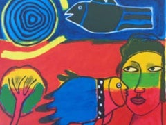 Vrouwenhoofd en vogels - Cobra, 20th Century, Lithograph, Figurative Print, EA