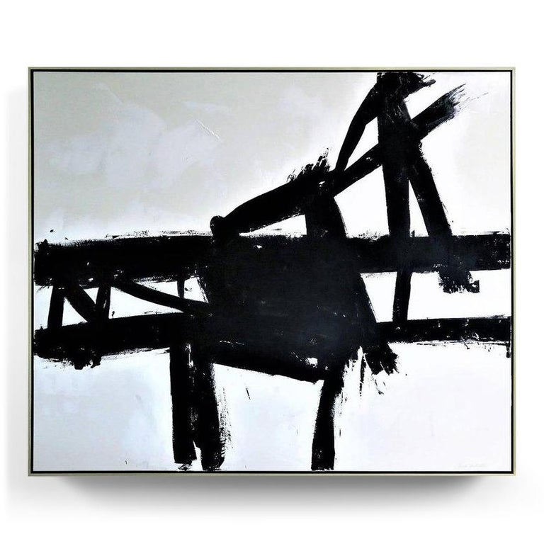 """""""Coal Mine III"""". This is an original acrylic on stretched canvas abstract black and white painting by Argentine born artist Karina Gentinetta (featured in Elle Decor, the New York Times, Traditional Home and 2017 Luxe Magazine). Measures: 5ft x 6 ft"""