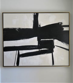 """""""Convergence"""" Black and White Painting by Karina Gentinetta, 2019, 4 ft x 5 ft"""