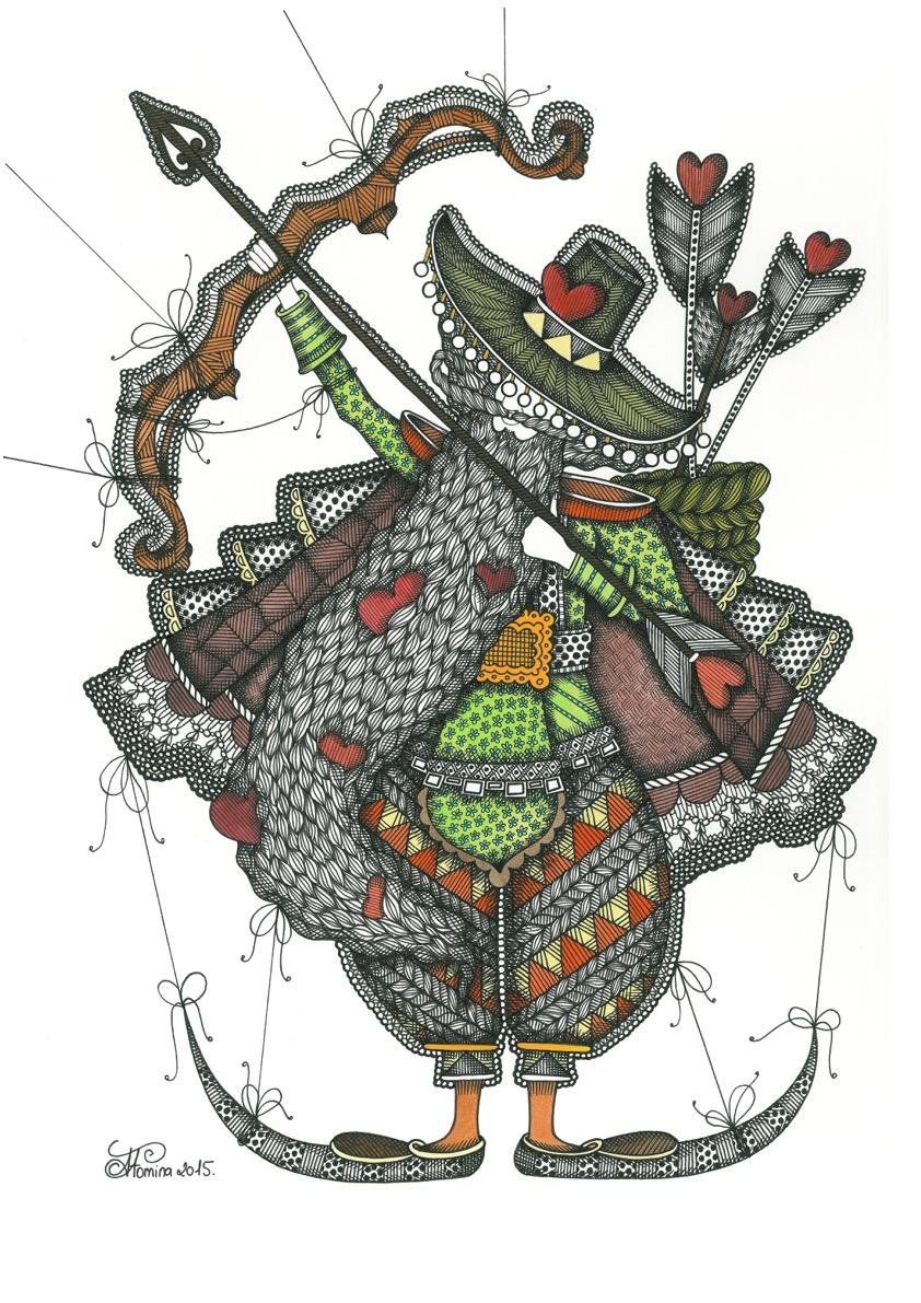 I'm the Love's Indian and I grab the luck's arrow - illustration, ornamental