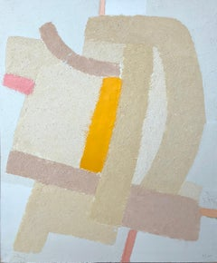 Scenery 2 (From Topography Series) - a painting in light, grey, beige and yellow