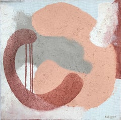 Composition XXI - square painting in light, grey, peach and red burgundy color