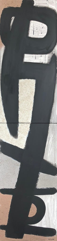 From the Vertical Series III - art in dark in black, grey, beige and peach puff