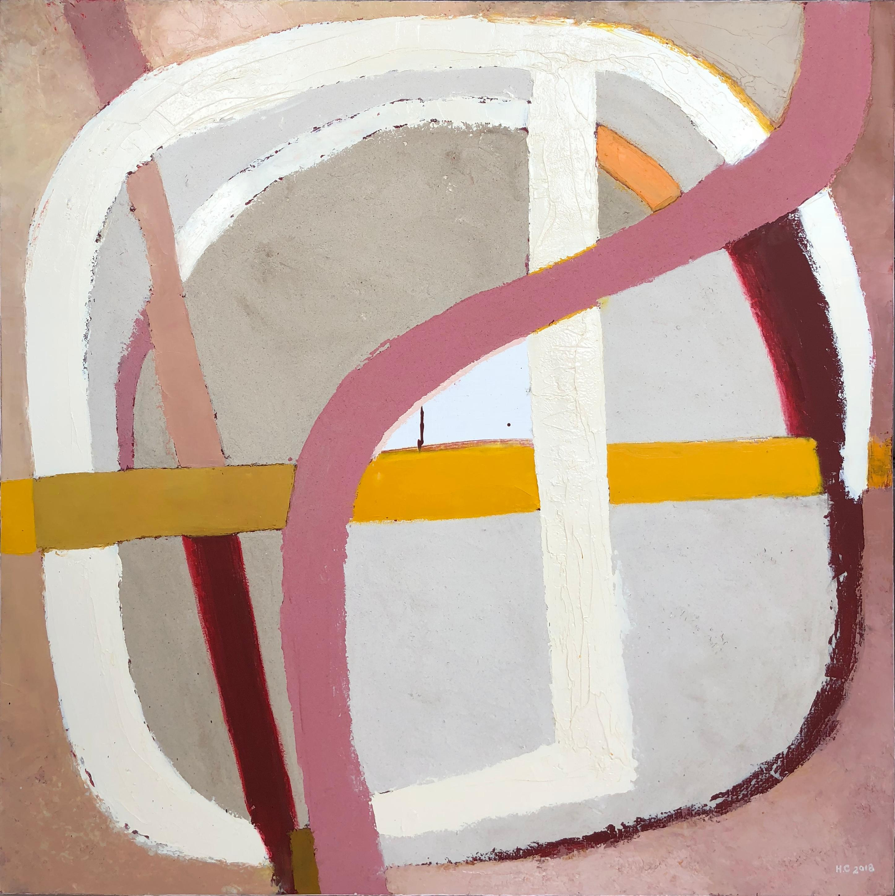 Topography 6 - abstract painting in light pink, white, yellow and grey