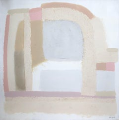 Topography 10 - abstract painting in white, grey, pink and beige