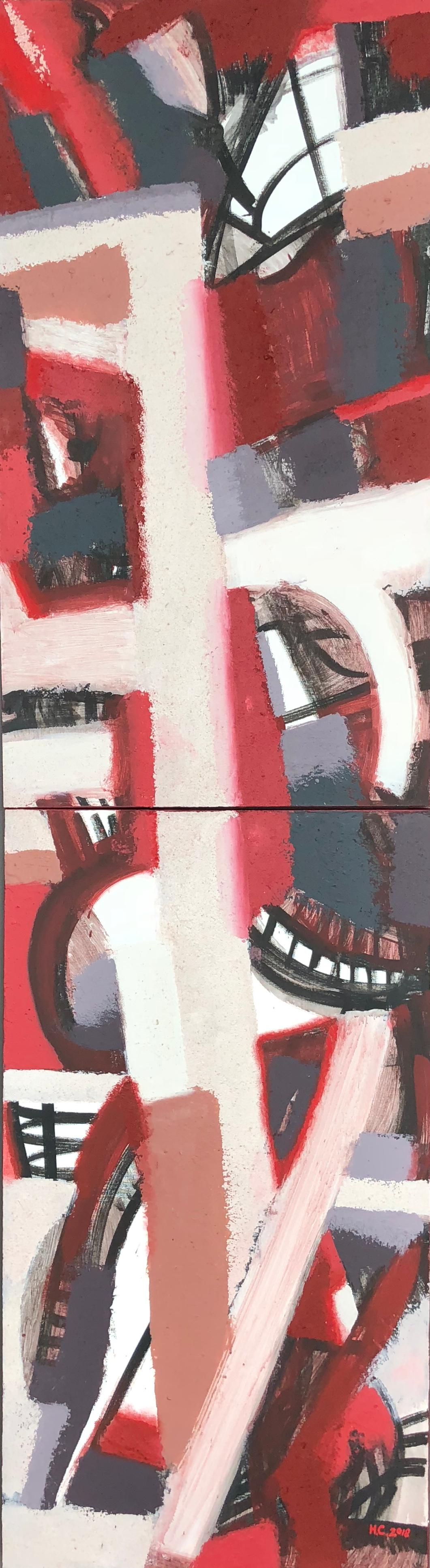 Topography from the Vertical Series - abstract art in red, black and burgundy