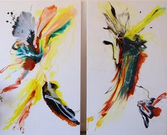 Color of unloved #1 & #2 diptych-abstract art in red, yellow, black, white