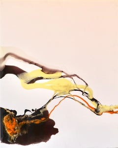 Composition - abstraction art, made in black, orange, yellow and white