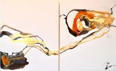 Composition I & II - abstraction art, made in black, orange, yellow and white