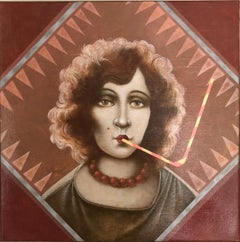 Thirst- woman with the straw in wine-colored, brown and beige