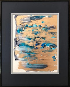 Coincidence (colorfall)- abstraction art,made in gold,blue,ultramarine,turquoise