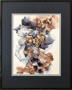 Mystification - abstraction art, made in gold, brown, grey, blue
