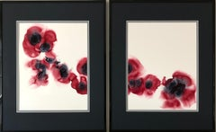 Singed poppies-abstraction art, made in cherry red, white,grey