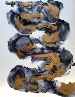 Whirl II- abstraction art, made in gold, grey, black, white